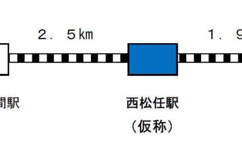 西松任駅の位置と距離。【画像:国土交通省】
